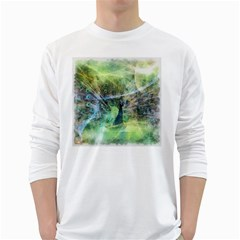 Digitally Painted Abstract Style Watercolour Painting Of A Peacock White Long Sleeve T-Shirts