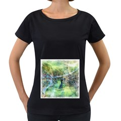 Digitally Painted Abstract Style Watercolour Painting Of A Peacock Women s Loose-Fit T-Shirt (Black)