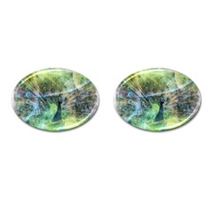 Digitally Painted Abstract Style Watercolour Painting Of A Peacock Cufflinks (Oval)