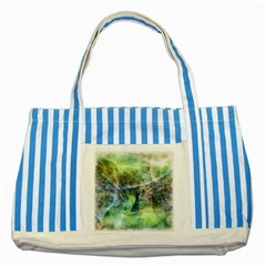 Digitally Painted Abstract Style Watercolour Painting Of A Peacock Striped Blue Tote Bag