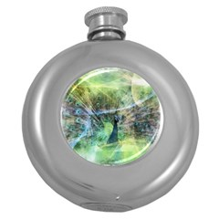 Digitally Painted Abstract Style Watercolour Painting Of A Peacock Round Hip Flask (5 Oz)