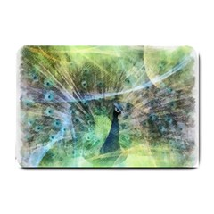 Digitally Painted Abstract Style Watercolour Painting Of A Peacock Small Doormat