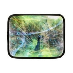 Digitally Painted Abstract Style Watercolour Painting Of A Peacock Netbook Case (small)