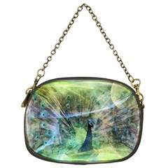 Digitally Painted Abstract Style Watercolour Painting Of A Peacock Chain Purses (One Side)