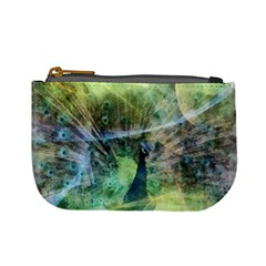 Digitally Painted Abstract Style Watercolour Painting Of A Peacock Mini Coin Purses