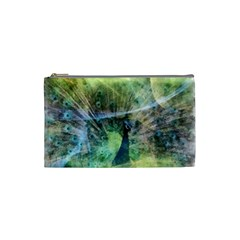 Digitally Painted Abstract Style Watercolour Painting Of A Peacock Cosmetic Bag (small)