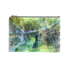 Digitally Painted Abstract Style Watercolour Painting Of A Peacock Cosmetic Bag (Large)