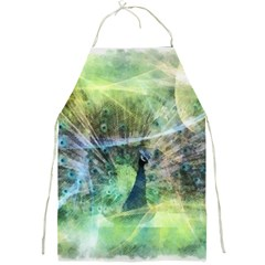 Digitally Painted Abstract Style Watercolour Painting Of A Peacock Full Print Aprons