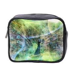 Digitally Painted Abstract Style Watercolour Painting Of A Peacock Mini Toiletries Bag 2-Side