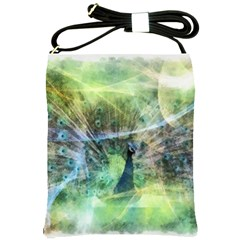 Digitally Painted Abstract Style Watercolour Painting Of A Peacock Shoulder Sling Bags