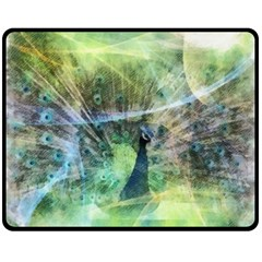 Digitally Painted Abstract Style Watercolour Painting Of A Peacock Fleece Blanket (medium)
