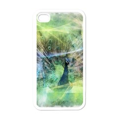 Digitally Painted Abstract Style Watercolour Painting Of A Peacock Apple iPhone 4 Case (White)