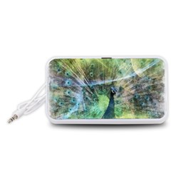 Digitally Painted Abstract Style Watercolour Painting Of A Peacock Portable Speaker (White)