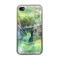 Digitally Painted Abstract Style Watercolour Painting Of A Peacock Apple iPhone 4 Case (Clear)
