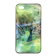 Digitally Painted Abstract Style Watercolour Painting Of A Peacock Apple iPhone 4/4s Seamless Case (Black)