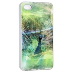 Digitally Painted Abstract Style Watercolour Painting Of A Peacock Apple iPhone 4/4s Seamless Case (White)