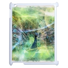 Digitally Painted Abstract Style Watercolour Painting Of A Peacock Apple iPad 2 Case (White)