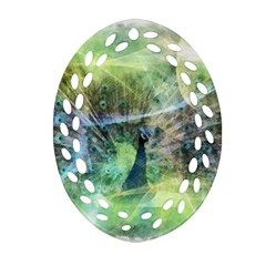 Digitally Painted Abstract Style Watercolour Painting Of A Peacock Ornament (Oval Filigree)