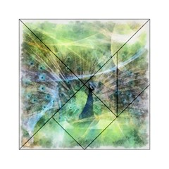 Digitally Painted Abstract Style Watercolour Painting Of A Peacock Acrylic Tangram Puzzle (6  x 6 )