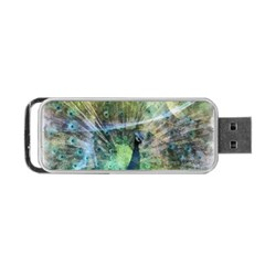 Digitally Painted Abstract Style Watercolour Painting Of A Peacock Portable USB Flash (Two Sides)
