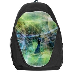 Digitally Painted Abstract Style Watercolour Painting Of A Peacock Backpack Bag