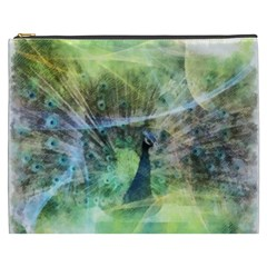 Digitally Painted Abstract Style Watercolour Painting Of A Peacock Cosmetic Bag (XXXL)