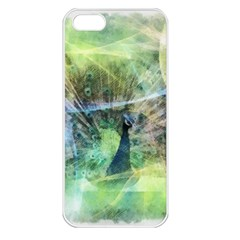 Digitally Painted Abstract Style Watercolour Painting Of A Peacock Apple iPhone 5 Seamless Case (White)