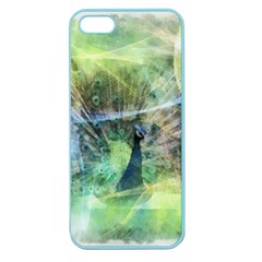 Digitally Painted Abstract Style Watercolour Painting Of A Peacock Apple Seamless iPhone 5 Case (Color)