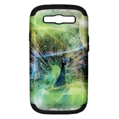Digitally Painted Abstract Style Watercolour Painting Of A Peacock Samsung Galaxy S III Hardshell Case (PC+Silicone)