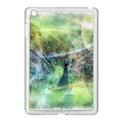 Digitally Painted Abstract Style Watercolour Painting Of A Peacock Apple iPad Mini Case (White)