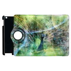 Digitally Painted Abstract Style Watercolour Painting Of A Peacock Apple iPad 2 Flip 360 Case