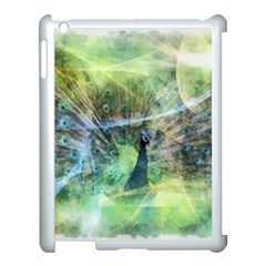 Digitally Painted Abstract Style Watercolour Painting Of A Peacock Apple iPad 3/4 Case (White)