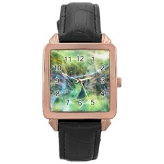 Digitally Painted Abstract Style Watercolour Painting Of A Peacock Rose Gold Leather Watch