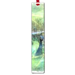 Digitally Painted Abstract Style Watercolour Painting Of A Peacock Large Book Marks