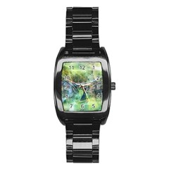 Digitally Painted Abstract Style Watercolour Painting Of A Peacock Stainless Steel Barrel Watch