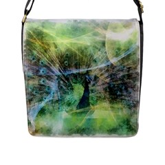 Digitally Painted Abstract Style Watercolour Painting Of A Peacock Flap Messenger Bag (L)