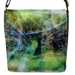 Digitally Painted Abstract Style Watercolour Painting Of A Peacock Flap Messenger Bag (S)