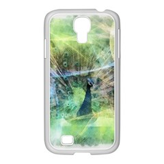 Digitally Painted Abstract Style Watercolour Painting Of A Peacock Samsung GALAXY S4 I9500/ I9505 Case (White)