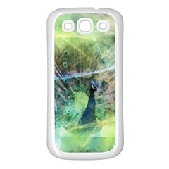 Digitally Painted Abstract Style Watercolour Painting Of A Peacock Samsung Galaxy S3 Back Case (White)