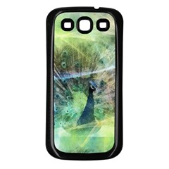 Digitally Painted Abstract Style Watercolour Painting Of A Peacock Samsung Galaxy S3 Back Case (Black)