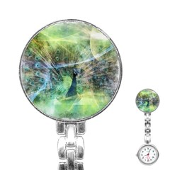 Digitally Painted Abstract Style Watercolour Painting Of A Peacock Stainless Steel Nurses Watch