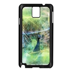 Digitally Painted Abstract Style Watercolour Painting Of A Peacock Samsung Galaxy Note 3 N9005 Case (Black)