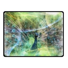 Digitally Painted Abstract Style Watercolour Painting Of A Peacock Double Sided Fleece Blanket (Small)