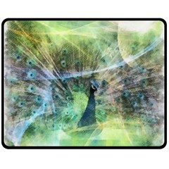 Digitally Painted Abstract Style Watercolour Painting Of A Peacock Double Sided Fleece Blanket (medium)