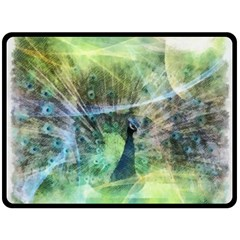 Digitally Painted Abstract Style Watercolour Painting Of A Peacock Double Sided Fleece Blanket (Large)