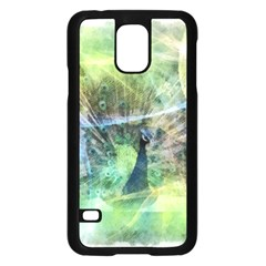 Digitally Painted Abstract Style Watercolour Painting Of A Peacock Samsung Galaxy S5 Case (Black)