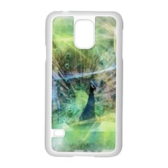 Digitally Painted Abstract Style Watercolour Painting Of A Peacock Samsung Galaxy S5 Case (White)