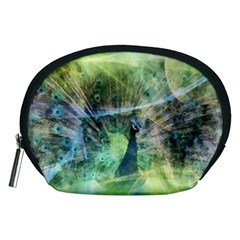 Digitally Painted Abstract Style Watercolour Painting Of A Peacock Accessory Pouches (Medium)