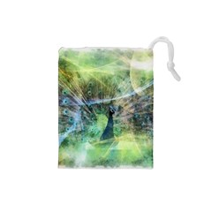 Digitally Painted Abstract Style Watercolour Painting Of A Peacock Drawstring Pouches (Small)