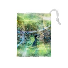 Digitally Painted Abstract Style Watercolour Painting Of A Peacock Drawstring Pouches (Medium)